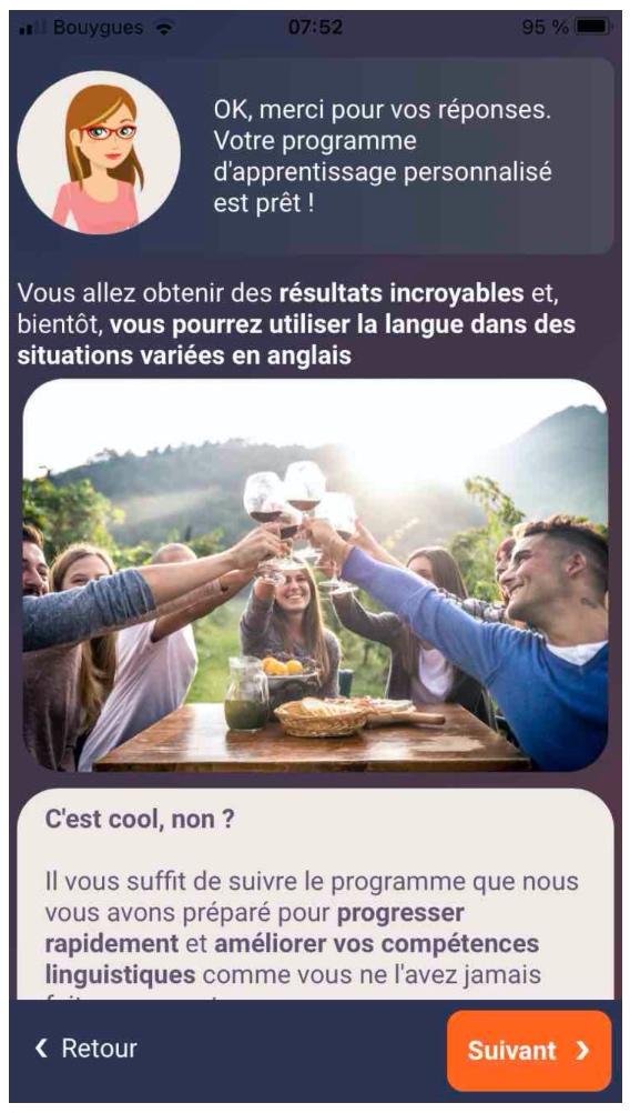 L'interface face de Mosalingua une application pour apprendre l'anglais